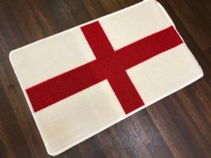 NEW ST GEORGE FLAG DESIGN NON SLIP DOORMAT 50X80CM WHITE RED LUXURY QUALITY RUG